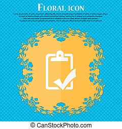 Document grammar control, Test, work complete icon. Floral flat design on a blue abstract background with place for your text. Vector