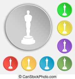 Oscar statuette icon sign. Symbol on eight flat buttons....