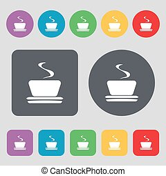 coffee, tea icon sign. A set of 12 colored buttons. Flat design. Vector