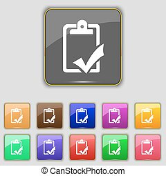 Document grammar control, Test, work complete icon sign. Set with eleven colored buttons for your site. Vector