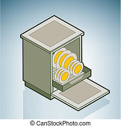 Dishwasher part of the Kitchen Utensils Isometric 3D Icons...