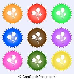 Balloons icon sign. Big set of colorful, diverse,...