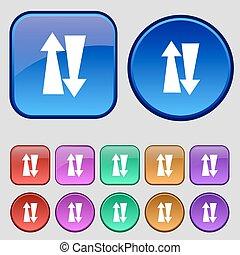 dois, maneira, tráfego, ícone, sinal, Um, jogo, de, doze,...