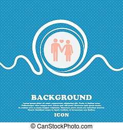 couple in love sign. Blue and white abstract background flecked with space for text and your design. Vector