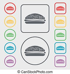 Burger, hamburger icon sign. symbol on the Round and square...