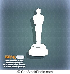 Oscar statuette icon. On the blue-green abstract background...