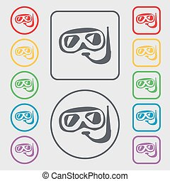 Diving icon sign. symbol on the Round and square buttons with frame. Vector