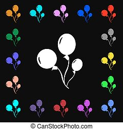 Balloons icon sign. Lots of colorful symbols for your...