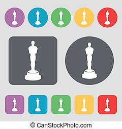 Oscar statuette icon sign. A set of 12 colored buttons. Flat...