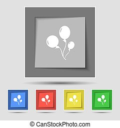 Balloons icon sign on original five colored buttons. Vector...