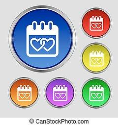 Calendar, heart, Valentines day, February 14, Love icon...