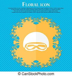 In a ski masks, snowboard ski goggles, diving mask icon. Floral flat design on a blue abstract background with place for your text. Vector