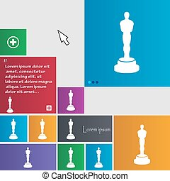 Oscar statuette icon sign. buttons. Modern interface website...
