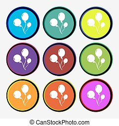Balloons icon sign. Nine multi colored round buttons. Vector...