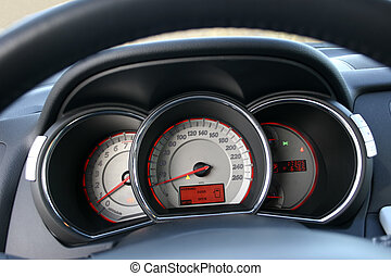 speedometer and tachometer - modern car analog instruments...