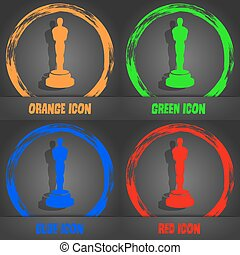 Oscar statuette icon. Fashionable modern style. In the...