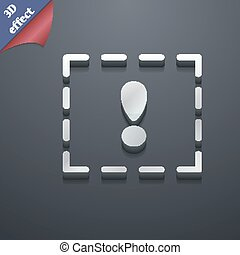 The exclamation point in a square icon symbol. 3D style. Trendy, modern design with space for your text Vector