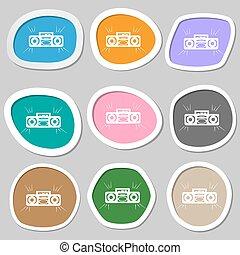 Radio cassette player symbols. Multicolored paper stickers. Vector