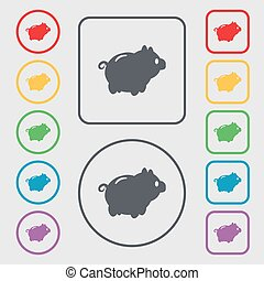 Piggy bank icon sign symbol on the Round and square buttons...