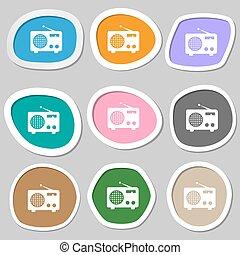 Retro radio symbols. Multicolored paper stickers. Vector
