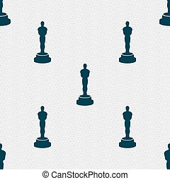 Oscar statuette icon sign Seamless pattern with geometric...