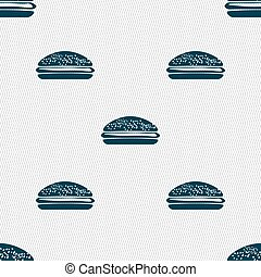 Burger, hamburger icon sign. Seamless pattern with geometric...
