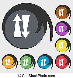 dois, maneira, tráfego, sinal, icon.,...