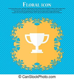Trophy Cup icon. Floral flat design on a blue abstract background with place for your text. Vector
