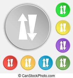 dois, maneira, tráfego, ícone, sinal., Símbolo, ligado,...