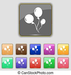 Balloons icon sign. Set with eleven colored buttons for your...