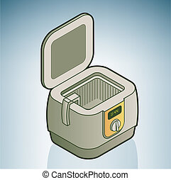 Deep Fryer part of the Kitchen Utensils Isometric 3D Icons...
