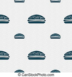 Burger, hamburger icon sign Seamless pattern with geometric...