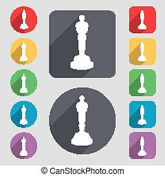 Oscar statuette icon sign A set of 12 colored buttons and a...