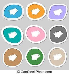 Piggy bank symbols Multicolored paper stickers Vector...