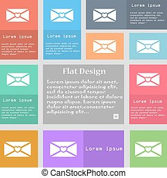 love letter icon sign. Set of multicolored buttons with space for text. Vector
