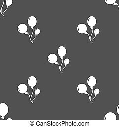Balloons icon sign Seamless pattern on a gray background...