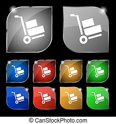 Loader icon sign. Set of ten colorful buttons with glare. Vector