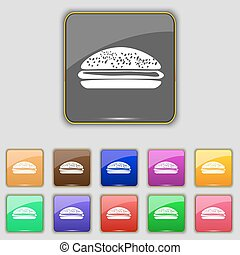 Burger, hamburger icon sign. Set with eleven colored buttons...