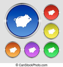 Piggy bank icon sign Round symbol on bright colourful...