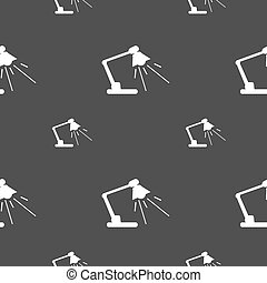 Reading-lamp icon sign Seamless pattern on a gray background...