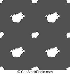 Piggy bank icon sign Seamless pattern on a gray background...