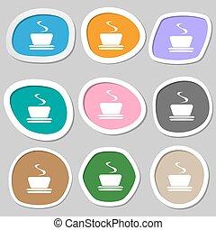 coffee, tea symbols. Multicolored paper stickers. Vector