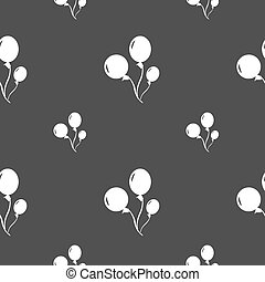 Balloons icon sign. Seamless pattern on a gray background....