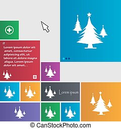 coniferous forest, tree, fir-tree icon sign buttons Modern...