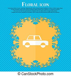 Car icon. Floral flat design on a blue abstract background with place for your text. Vector