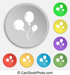 Balloons icon sign. Symbol on eight flat buttons. Vector...