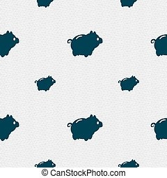 Piggy bank icon sign Seamless pattern with geometric texture...