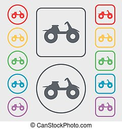 ATV icon sign. symbol on the Round and square buttons with frame. Vector