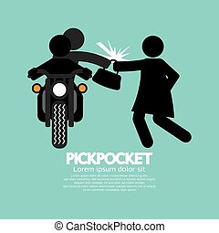 Pickpocket With The Victim. - Pickpocket On Motorcycle With...