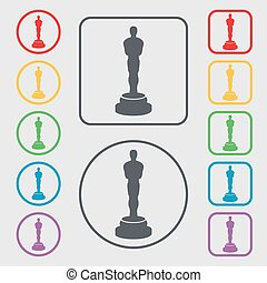 Oscar statuette icon sign symbol on the Round and square...